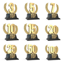 Set of Top award cup symbols isolated on white background. 3d render