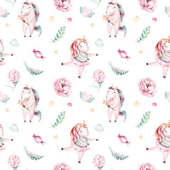 Isolated cute watercolor unicorn pattern. Nursery magic unicorns aquarelle. Princess miracle unicorns collection. Trendy pink cartoon horse.
