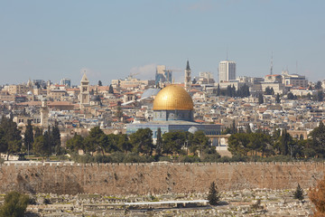 Temple Mount in the Old City of Jerusalem. The Dome of the Rock - panorama.