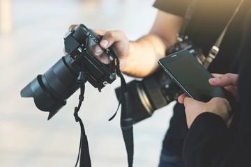 Men are taking photos