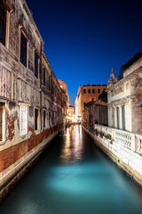 Landscape Venice architecture night. Italy