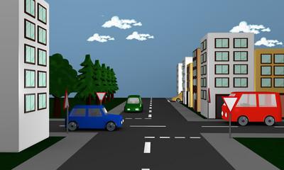 Straßenszene mit Autos, Häusern und das deutsche Verkehrsschild Vorfahrt gewähren.