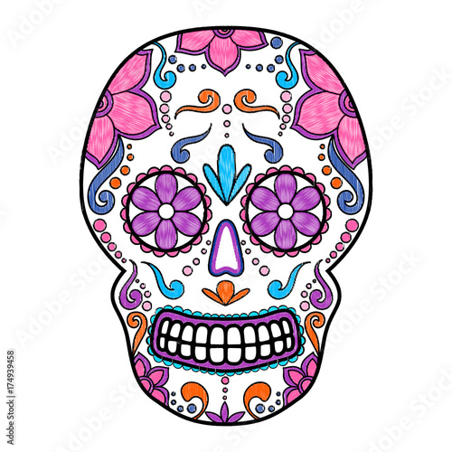 day of the dead colorful skull with floral ornament embroidery rh fotolia com sugar skull vector pack sugar skull vector png