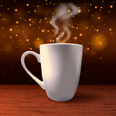Steaming white cup on a bokeh golden background. Vector Illustration