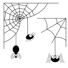 Halloween monochrome spider web and spiders isolated on white background. Vector illustration