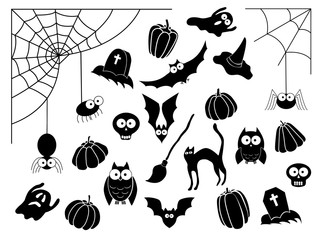 Vector collection of different cute black Halloween silhouettes. Cat, witch hat, broom, ghost, grave, bat, skull, web, owl, pupmkin
