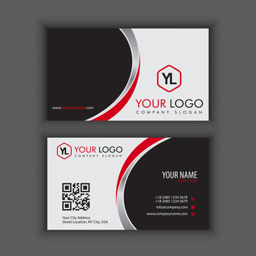 Modern Creative and Clean Business Card Template with red chrome color