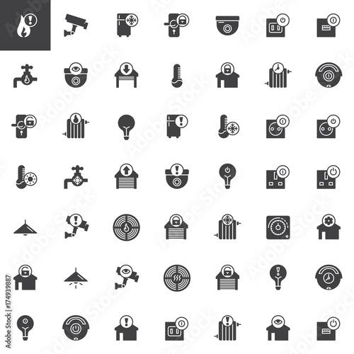smart home and technology vector icons set modern solid symbol collection filled pictogram. Black Bedroom Furniture Sets. Home Design Ideas