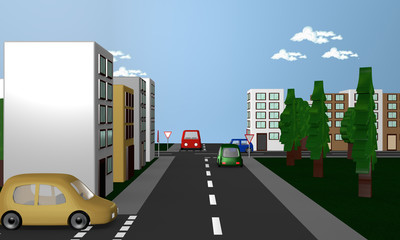 Straßenszene um das Verkehrsschild Vorfahrt gewähren.