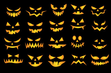 Halloween scary faces set VECTOR