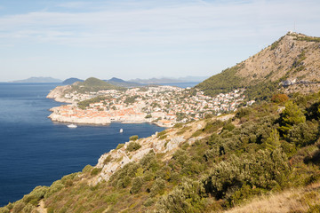 Typical Croatian landscape. Mountains, the Adriatic Sea and city of Dubrovnik.