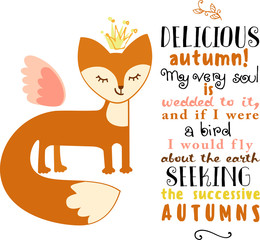 autumnal greeting card with cute fox