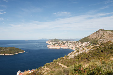 View from the mountains to Dubrovnik and the island Lokrum. Croatia