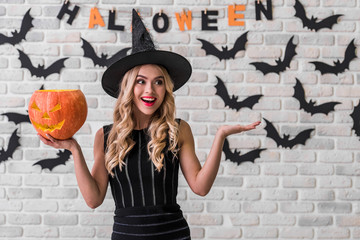 Girl ready for Halloween party Wall mural