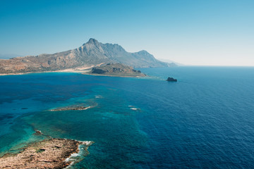 Top view of turquoise water at Balos Lagoon and Gramvousa in Crete, Greece