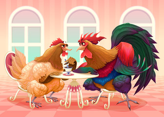 Hen and rooster in a cafè