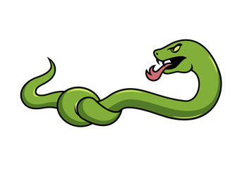 Snake vector. Snake knot. Snake cartoon character. Green snake on a white background