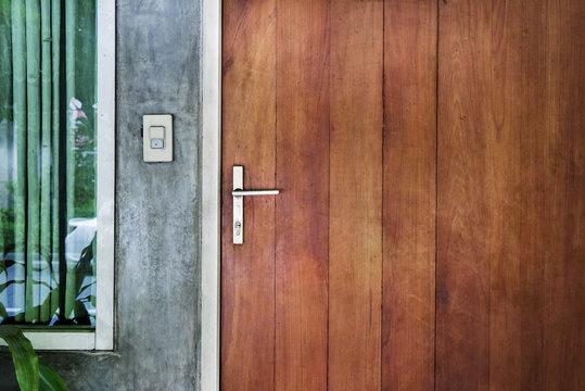 steel handle wood door in the city