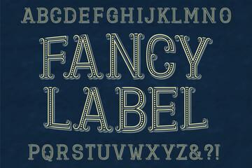Fancy label font. Isolated english alphabet.