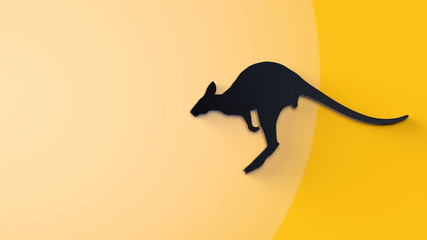 Black silhouette of jumping kangaroo on a yellow background. 3D rendering isolated from background.