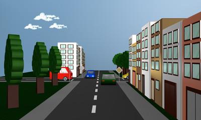 Straßenszene mit Autos, Häusern und dem  Verkehrsschild Vorfahrtsstraße.