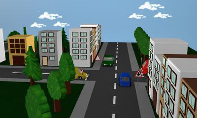 Straßenszene mit Autos, Häusern und dem  Verkehrsschild Vorfahrt.