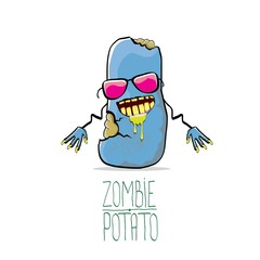 vector funny cartoon cute blue zombie potato isolated on white background. Halloween monster vegetable funky character