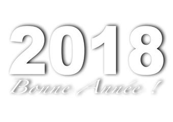 2018 bonne année italique blanc et fond blanc