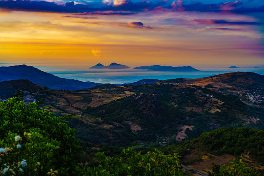 Beautiful sunset from Montalbano Elicona, view of Aeolian Islands, Sicily Italy.