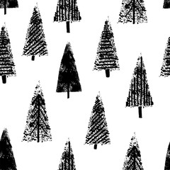 Hand drawn christmas trees seamless white background