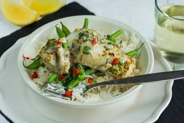 Coconut curry cod with green beans and rice