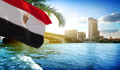 Flag and Cairo bridge