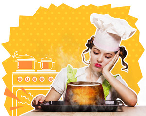 Housewife overlooked cake in the oven at the kitchen