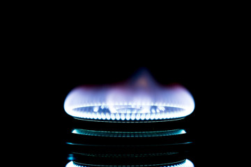 Blur photography,Home LPG.firing.Burning gas burner in the darkness.Natural energy concept..