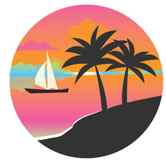 Black silhouette of a palm tree in a circle at sunset. Flat vector icon for design works. Icon with a tropical island