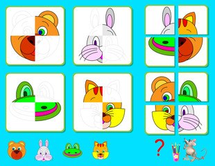 Logic exercise for young children. Need to find the missing parts of animals and draw them in relevant places. Vector cartoon image.