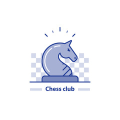 Chess club line icon, knight horse chess piece, vector illustration
