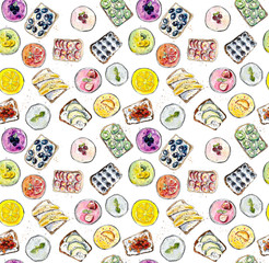 Smoothie and sandwich. Seamless pattern. Watercolor hand drawn illustration