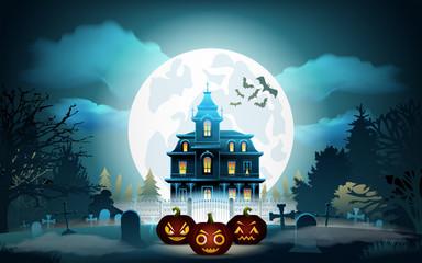 Halloween pumpkins in graveyard and dark castle