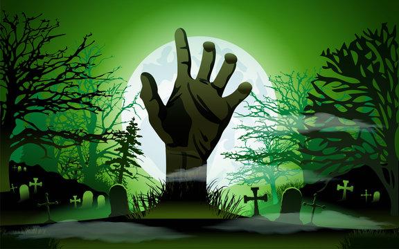 Halloween concept, zombie hand