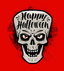 Happy Halloween, greeting card. Scary skull or monster. Lettering vector illustration