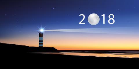 2018 - carte de vœux - direction - objectif - phare - lune - année - repère - concept
