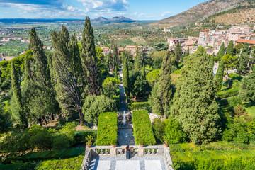 Panoramic sight in Villa d'Este, Tivoli, Lazio, central Italy.