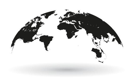 Black world map globe isolated - stock vector