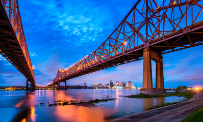 Skyline of New Orleans with Mississippi River at Dusk