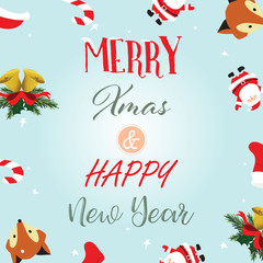 Light colorful christmas greeting card with fox,santa claus,floral,bell,christmas tree and ribbon