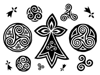 Breton and Celtic triskels symbols vector set