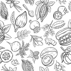 Vector hand drawn superfood seamless pattern.
