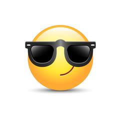 Cartoon emoticon wearing black sunglasses. Happy cute emoji. Smiley on glasses.