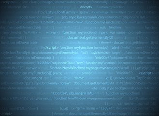 Software web design blue background. Site developer javascript programming code. Abstract computer webpage script. Random parts of program code. Vector database illustration.